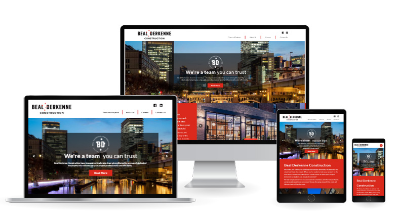Beal Derkenne Contruction website displayed on multiple devices