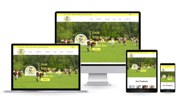 Picket fence creamery website displayed on multiple devices