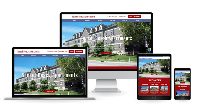 Sunset Beach Apartments displayed on multiple devices