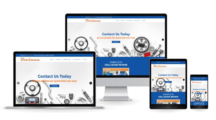 Boelman Collision Center Responsive Web Design mockup