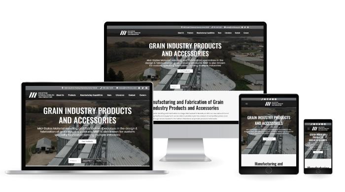 Mid-States Material Handling & Fabrication Responsive Web Design mockup