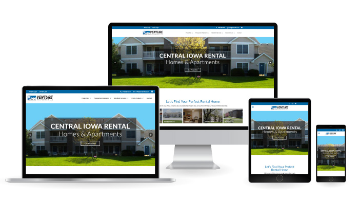 Venture Property Management Responsive Web Design mockup