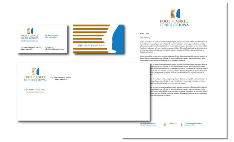 Ames print design- foot and ankle center corportate identity package mock up