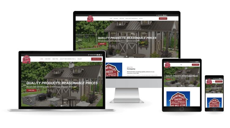 spring valley sheds web design