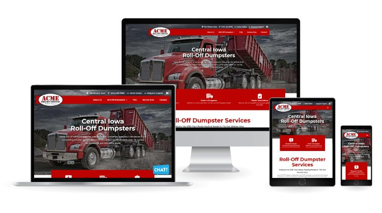 Acme Roll Off Company New Website - SCreen sizes
