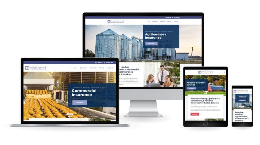 Crossroads insurance responsive web design mockup