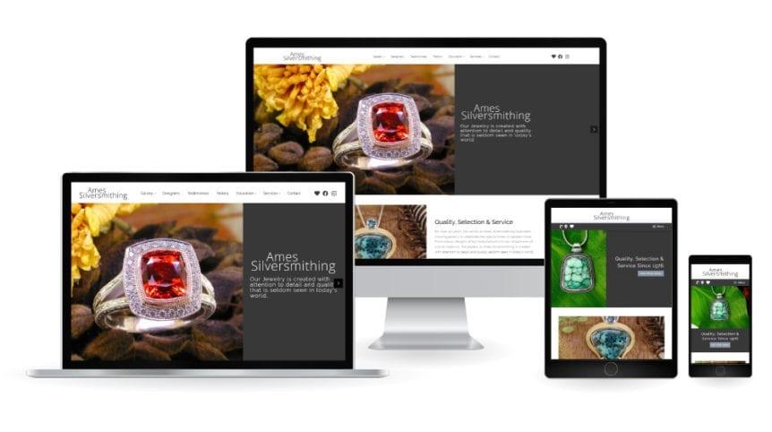 Ames Silversmithing website - responsive web design mockup
