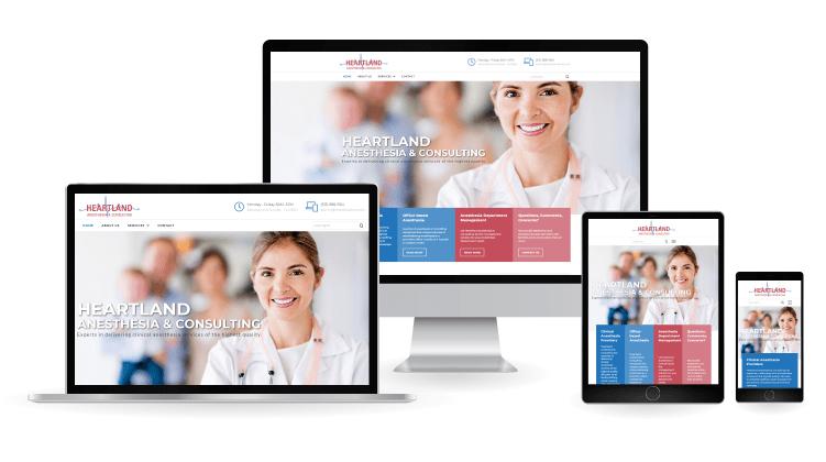 Heartland anesthesia web design mockup