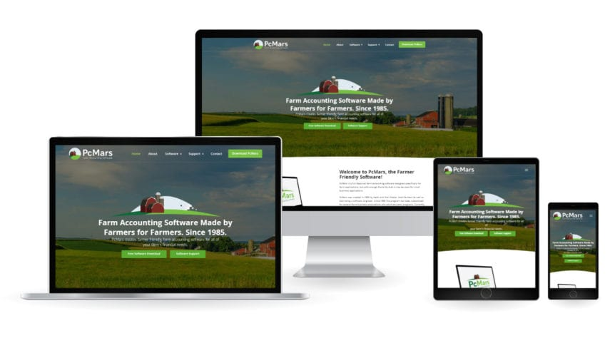 PcMars Website - Responsive Design Mockup